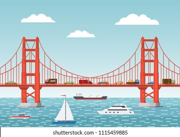 Vector illustration. Landscape with a bridge, cars and ships. Flat style.
