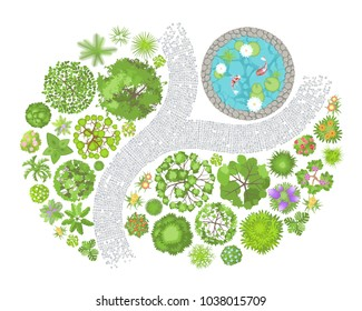 Vector illustration. Landscape design. Top view. Pond, path, trees and flowers. View from above.