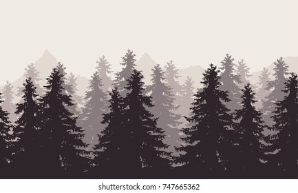 Vector illustration of a landscape with forest and mountains with fog in the background under a gray sky