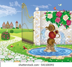 Vector illustration of a landscape garden with a fountain, through the open gate, you can see the valley and the city
