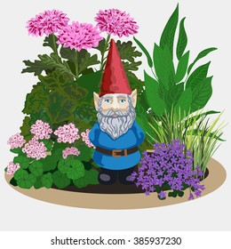 Vector illustration of a landscape gardening sculpture garden gnome at plans and flowers