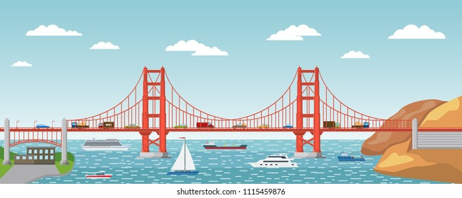 Vector illustration. Landscape of Golden Gate Bridge. Symbol of America.