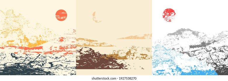 Vector illustration landscape. Grunge grain surface texture. Hills, mountains. Mountain background. Asian style. Design elements for social media template, blog post, square banner.