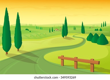 Vector illustration. Landscape hilly plain with road and trees in yellow-green colors
