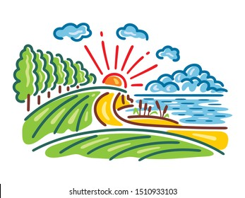 Vector illustration of landscape of lake, forest and fields. Bright and colorful background of nature on the lake.