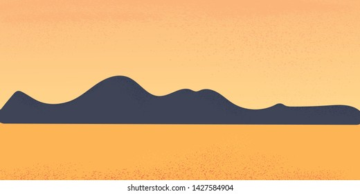 Vector illustration of a landscape with mountains and sea. Orange landscape with texture.