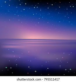 Vector illustration, landscape, night view. The sky at night the stars reflected in the water. Sea or ocean in the dark. Fantastic magic.