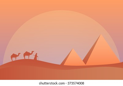 Vector illustration of landscape in savanna, Camel caravan at pyramids in sunset.  Scenic view of desert with nature trees, sky, mountains and wild nature.