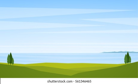 Vector illustration: Landscape with sea and trees on the coast on foreground.