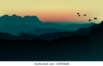 Vector illustration landscape of silhouette mountains in fog and birds.