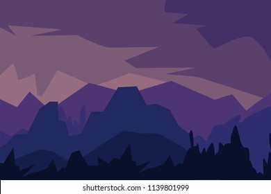 Vector illustration. Landscape with silhouettes of  mountains, hills and forest.