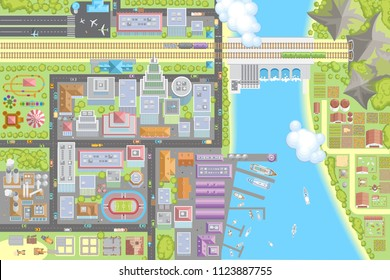Vector illustration. Landscape view from above. City top view. Buildings, skyscrapers, houses, stadium, park, road, port, river, railway, farm, field.