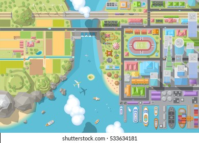 Vector illustration. Landscape view from above. City, buildings, skyscrapers, houses, stadium, park, road, port, sea, river, railway, farm, field. (top view)
