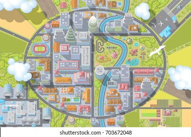 Vector illustration. Landscape. View from above. City. Top view.