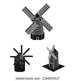 Vector illustration of landscape and village logo. Set of landscape and farm vector icon for stock.