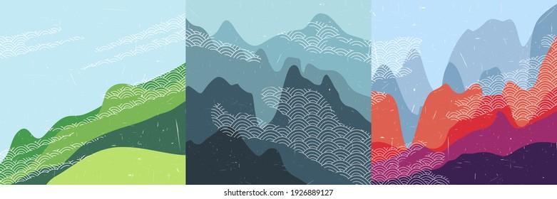 Vector illustration landscape. Vintage Asian style. Japanese pattern clouds. Hills background. Design elements for social media template, blog post, square banner. Aerial view. Mountain peak.