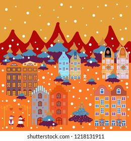 Vector illustration. Landscape with winter houses, wood, trees, hills on orange, red and purple colors. Creative christmas background.