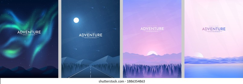 Vector illustration. Landscapes collection. Flat cartoon style. Triangle shapes. Misty forest, sunset scene, night highway, aurora borealis. Design for poster, book cover, banner, flyer, gift card
