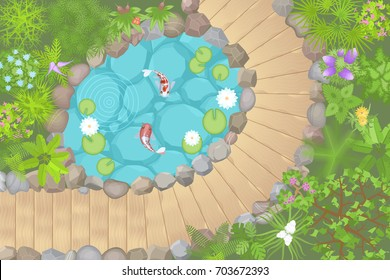 Vector illustration. Landscaping with pond. (Top view)  Garden paths, pond, stones, flowers and plants. (View from above)