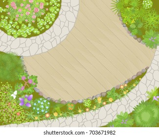 Vector illustration. Landscaping. (Top view)  Garden paths, stones, flowers and plants. (View from above)