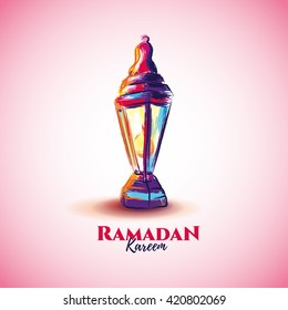 vector illustration of a lantern Fanus, the Muslim feast of the holy month of Ramadan Kareem. illustrations in the style of watercolor paints.