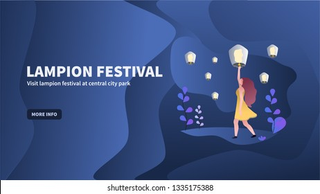 Vector illustration of the lantern or lampion festival at night with a flat, fluid, modern, simple design style. can be used on websites, blogs, ads, mobile apps, presentations, baners, etc.