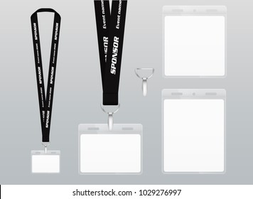 Vector illustration of lanyard. Black ribbon. Labels of different sizes. Lanyard with plastic label. Place for branding design