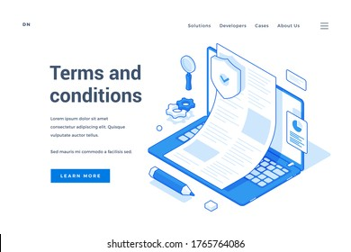 Vector illustration of laptop with approved legal contract representing website and software terms and conditions near description and link button. Isometric web banner, landing page template