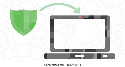 vector illustration of laptop with camera protector against cyber spying