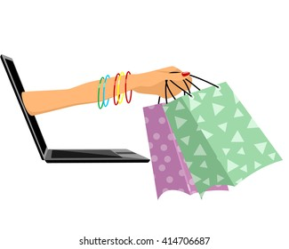 Vector illustration of a laptop and hand with bags