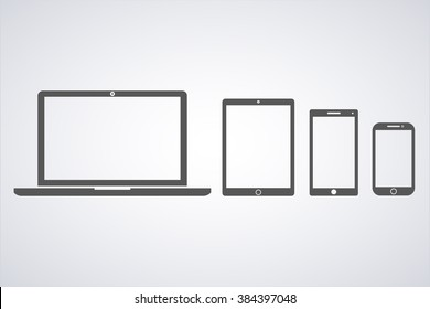 vector illustration laptop,  phone, tablet silhouettes,outlines on a white background,with empty white screen,EPS10