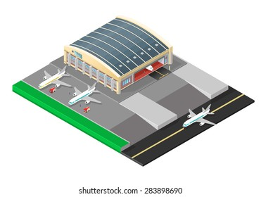 A vector illustration of a large aircraft hanger building. Isometric airport hanger with plane and mechanics. Jet passenger planes undergoing maintenance.