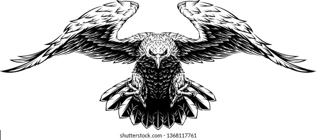 Vector illustration, a large eagle opened its wings in flight, black kotur on a white background