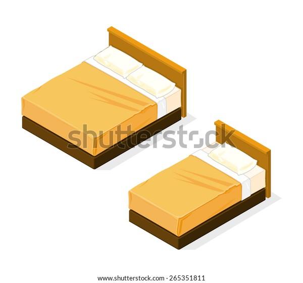Vector Illustration Large Medium Bed Isometric Stock Vector