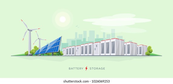 Vector illustration of large rechargeable lithium-ion battery energy storage stationary and renewable electric power station with solar panels and wind turbines. Backup power energy storage system.