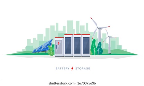 Vector illustration of large rechargeable lithium-ion battery energy storage station and renewable electric power station with solar panels and wind turbines. Backup power energy storage system.