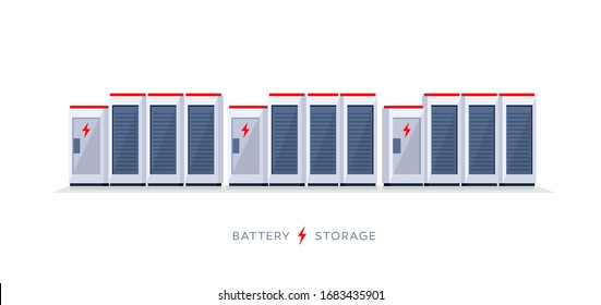 Vector illustration of large rechargeable lithium-ion battery energy storage stationary for renewable electric power station generation. Backup power energy storage cloud system on white background.