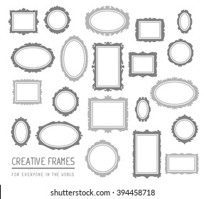 Vector illustration of large set of gray rectangular and oval frames isolated on white background. Art design for web, site, advertising, banner, poster, flyer, brochure, board, card, paper print.