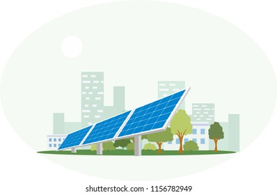 Vector illustration of large solar panels