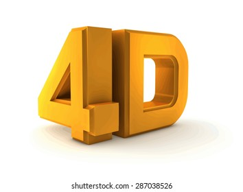 Vector illustration Large three-dimensional logo on a white isolated matte background. Matte gold. 4d logo.