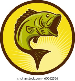 vector illustration of a Largemouth Bass fish jumping done in retro woodcut style