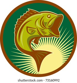 vector illustration of a large-mouth bass fish jumping set inside circle with forest green background done in retro style