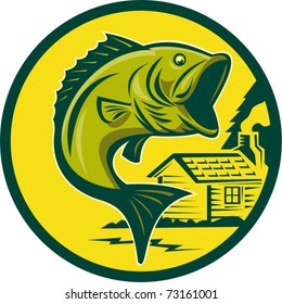 vector illustration of a largemouth bass fish jumping set inside circle with log cabin in background background done in retro style