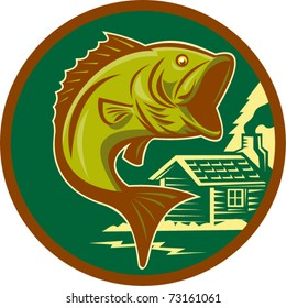 vector illustration of a large-mouth bass fish jumping set inside circle with log cabin in background background done in retro style