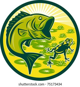 vector illustration of a largemouth bass jumping with frog and lily pads and sunburst in background set inside a circle done in retro woodcut