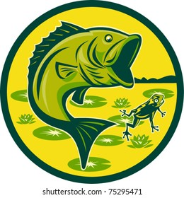 vector illustration of a largemouth bass jumping with frog and lily pads set inside a circle done in retro woodcut