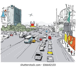 Vector illustration of Las Vegas strip with traffic and pedestrians