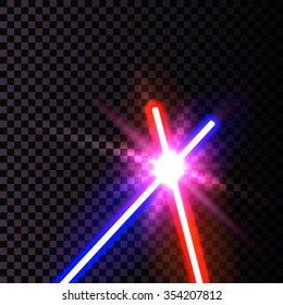 Vector Illustration of laser swards isolated on transparent for Design, Website, Background, Banner. Neon Bright beams Element Template Starwars
