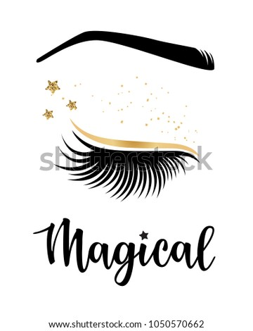 47b75845231 Vector illustration of lashes with 'Magical' inspiration for or beauty  salon, lash extensions maker, brow master. - Vector