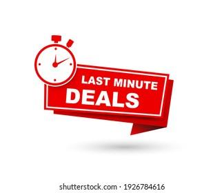 vector illustration last minute deal button, flat label flag sign, alarm clock countdown logo.